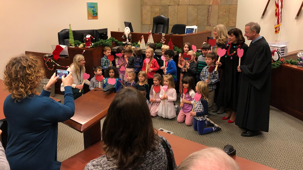 Mrs. McKee's kindergarten class supported their classmate Michael, as his adoption was finalized.