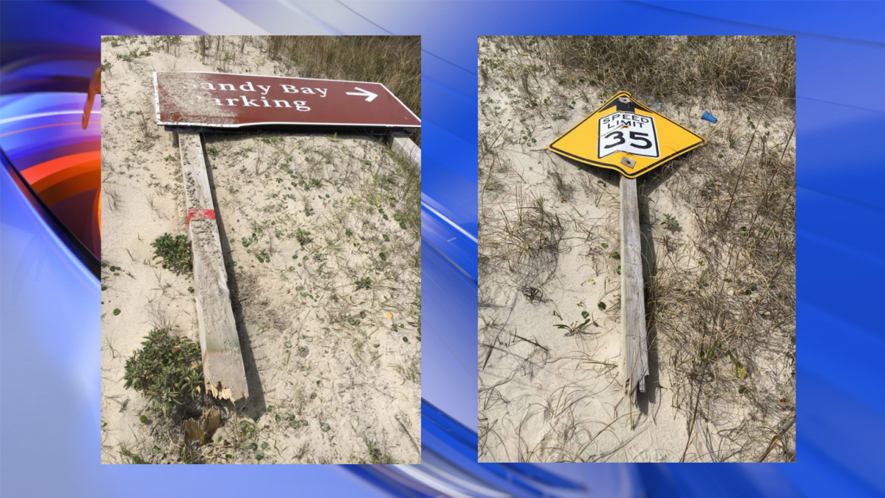 Cape Hatteras officials discover damaged signs