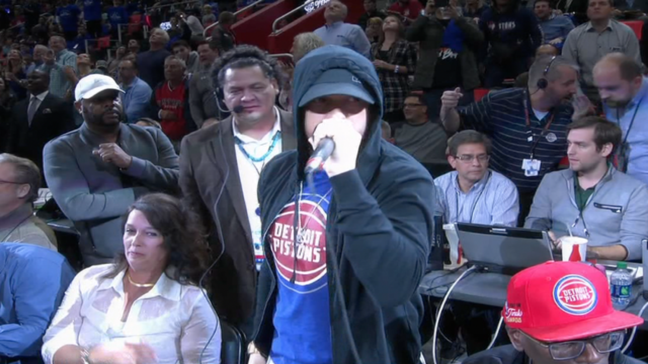 Eminem on the mic to open Pistons first game at Little Caesars Arena