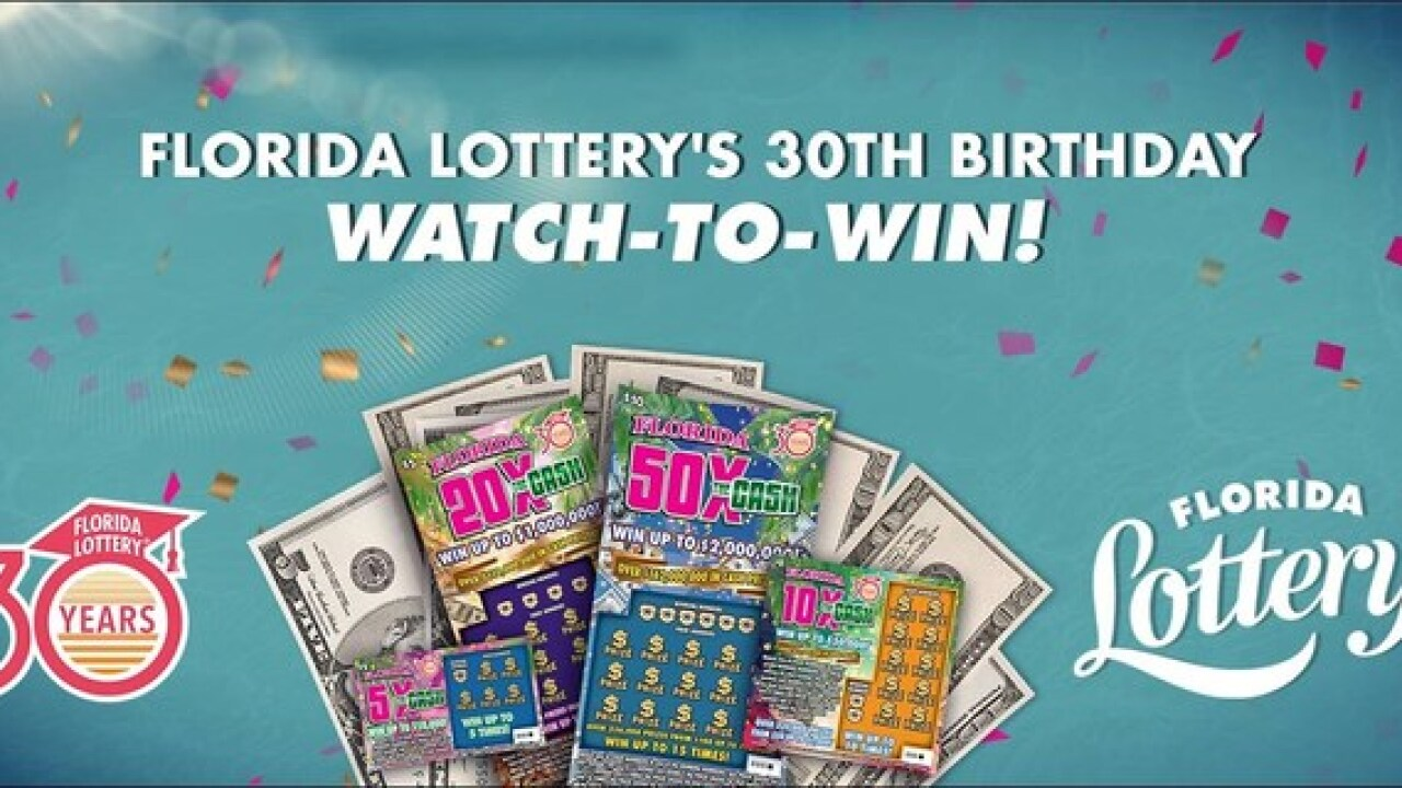 Florida Lottery's 30th Birthday Watch-to-Win! Sweepstakes