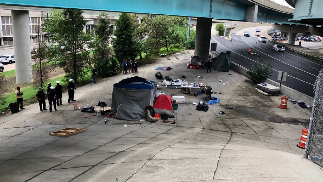Homeless camp near Lytle Tunnel