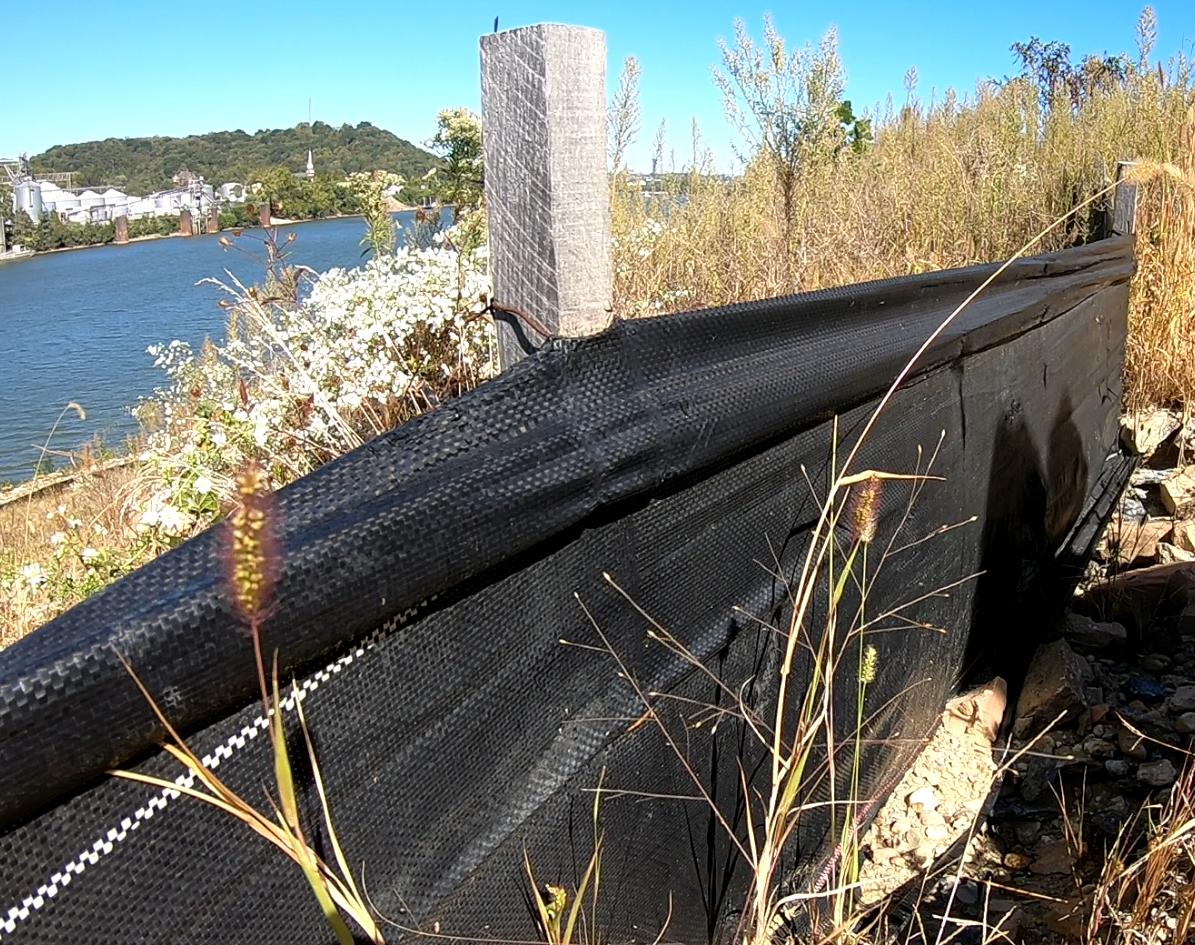 Silt fence on the Bells' property in December 2019