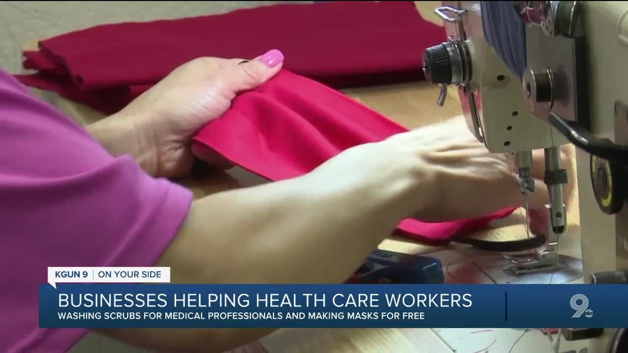 Sparkle Cleaners and Mendel's Wife the Tailor to make masks and wash scrubs for free