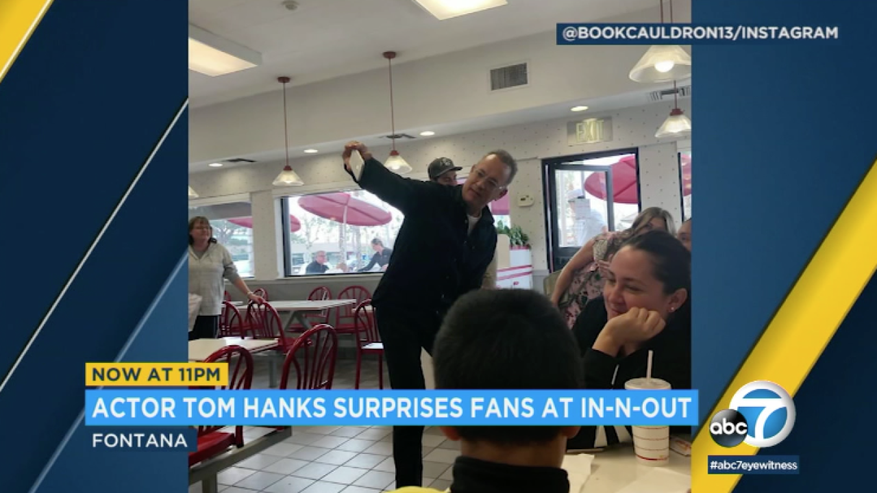 Tom Hanks stops at Southern California In-N-Out, takes