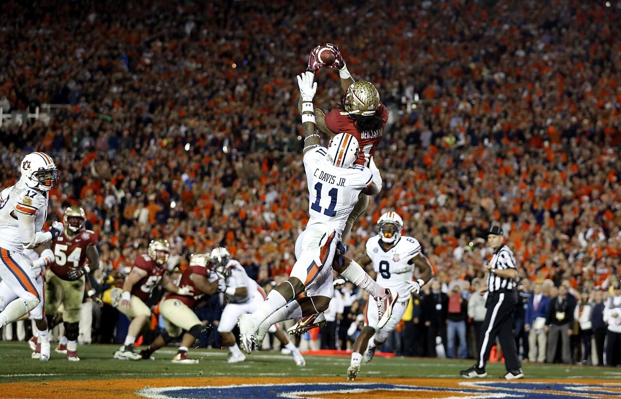 Florida State Seminoles receiver Kelvin Benjamin catches game-winning touchdown vs. Auburn Tigers in 2014 BCS National Championship