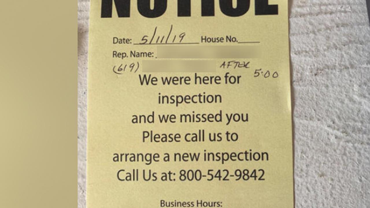 Inspection 'notice' appears on door, followed by disturbing encounter