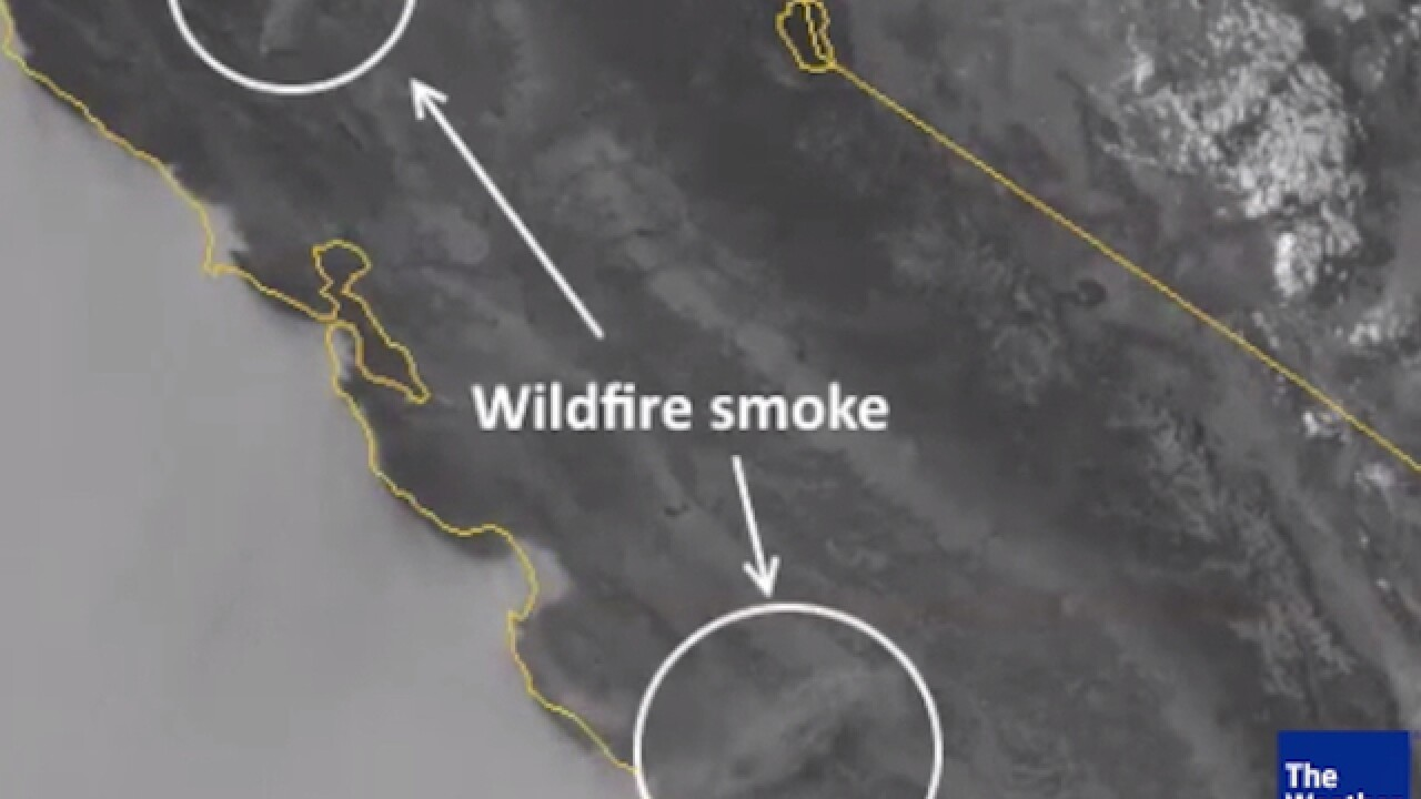 Satellite shows California wildfires exploding