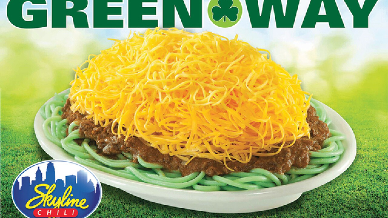 Skyline Chili is turning its noodles green this weekend for St. Patrick's Day