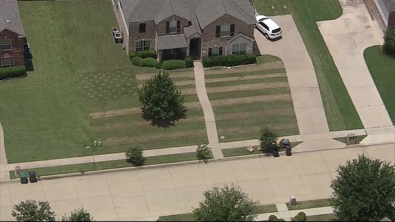 Texas teen mows an American flag design into his lawn in honor of soldier