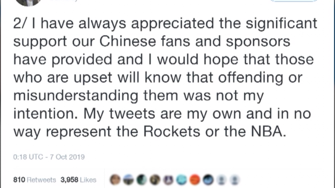 China suspends business ties with NBA team Houston Rockets over Hong Kong tweet