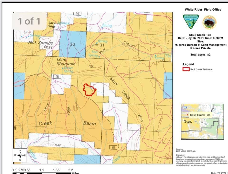 Skull Creek Fire map_July 26 2021