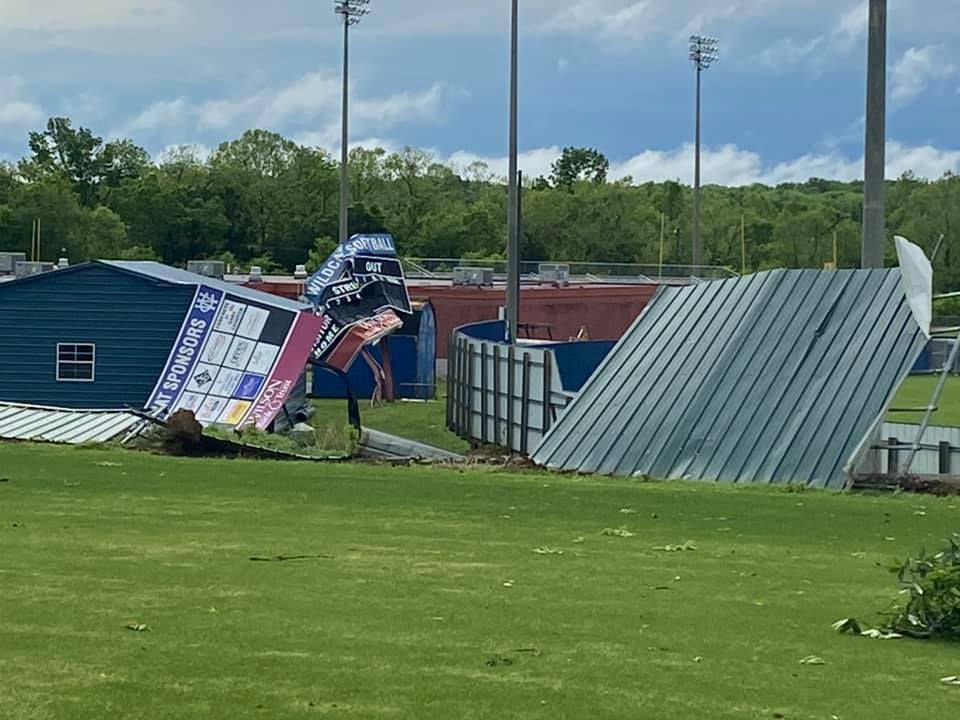 wilson central high school baseball field damage