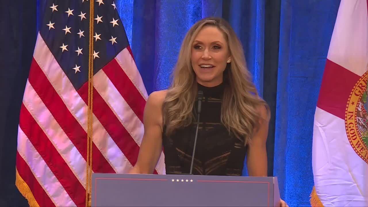 Lara Trump speaks at 'Make America Great Again' rally in Palm Beach Gardens