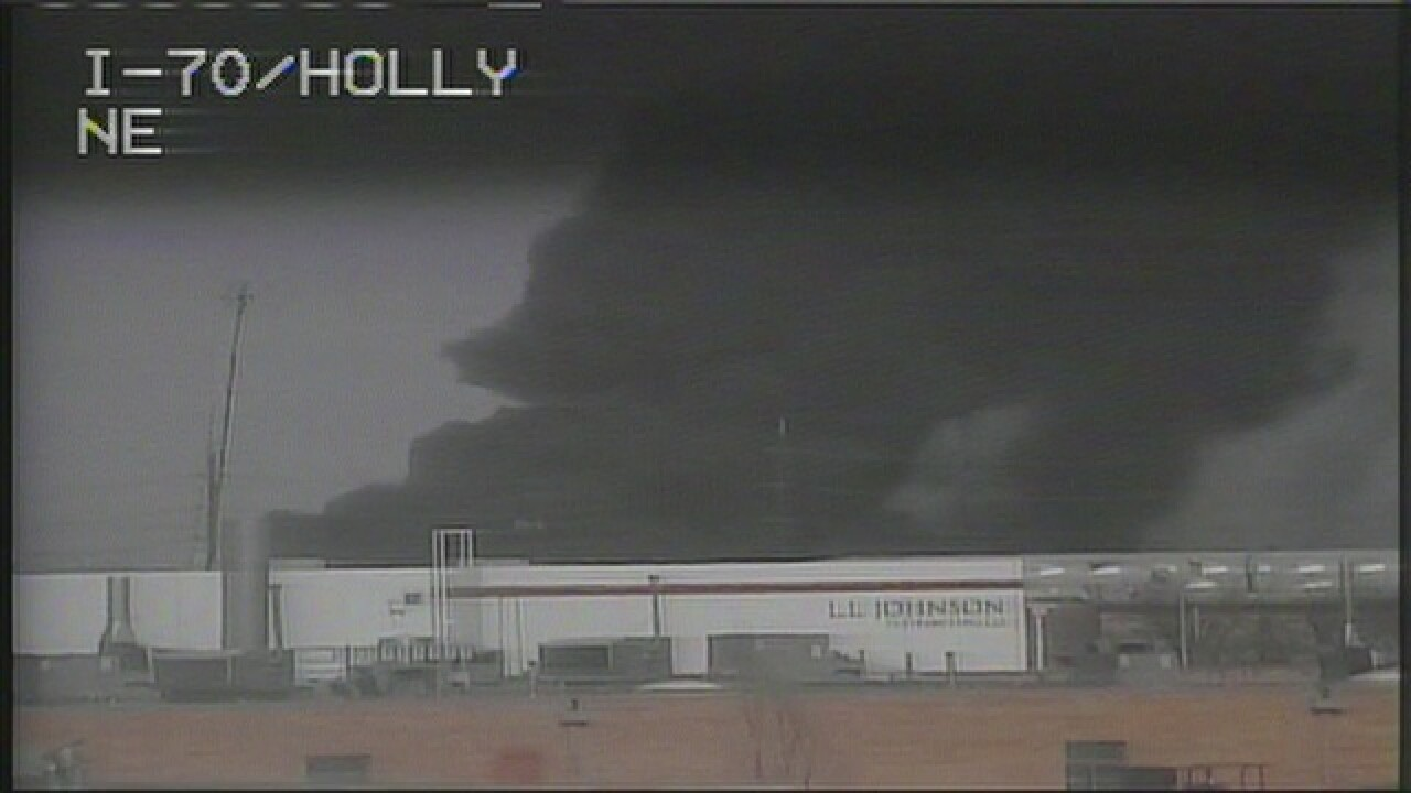 Large trash fire burning at recycling center