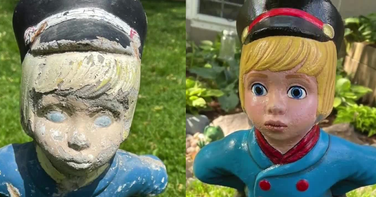 Before and after of statue restoration