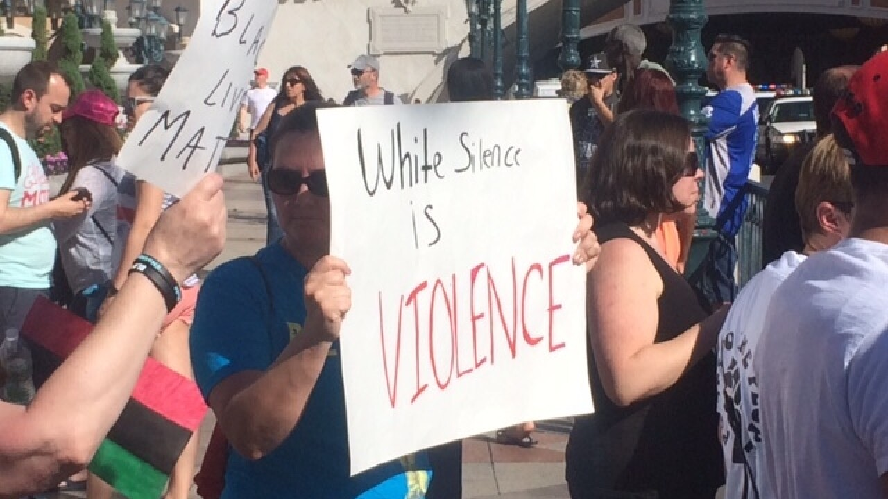 Protesters block the Las Vegas Strip