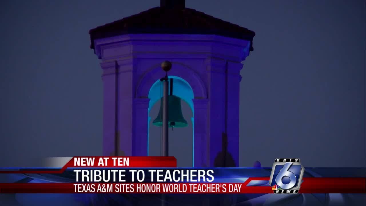 Texas A&M campuses lit blue to honor teachers