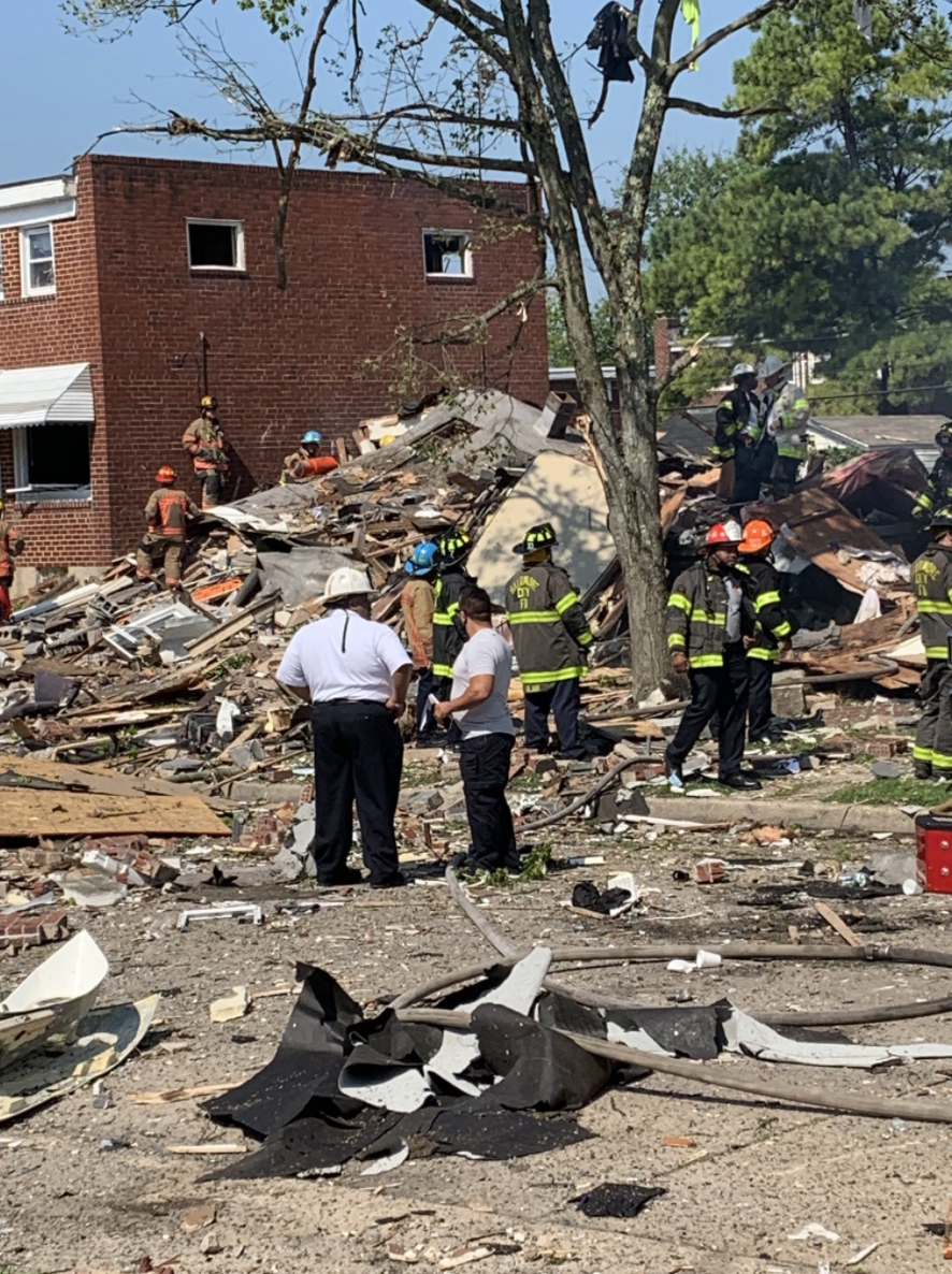 One dead, others rescued after explosion demolishes homes in NW Baltimore