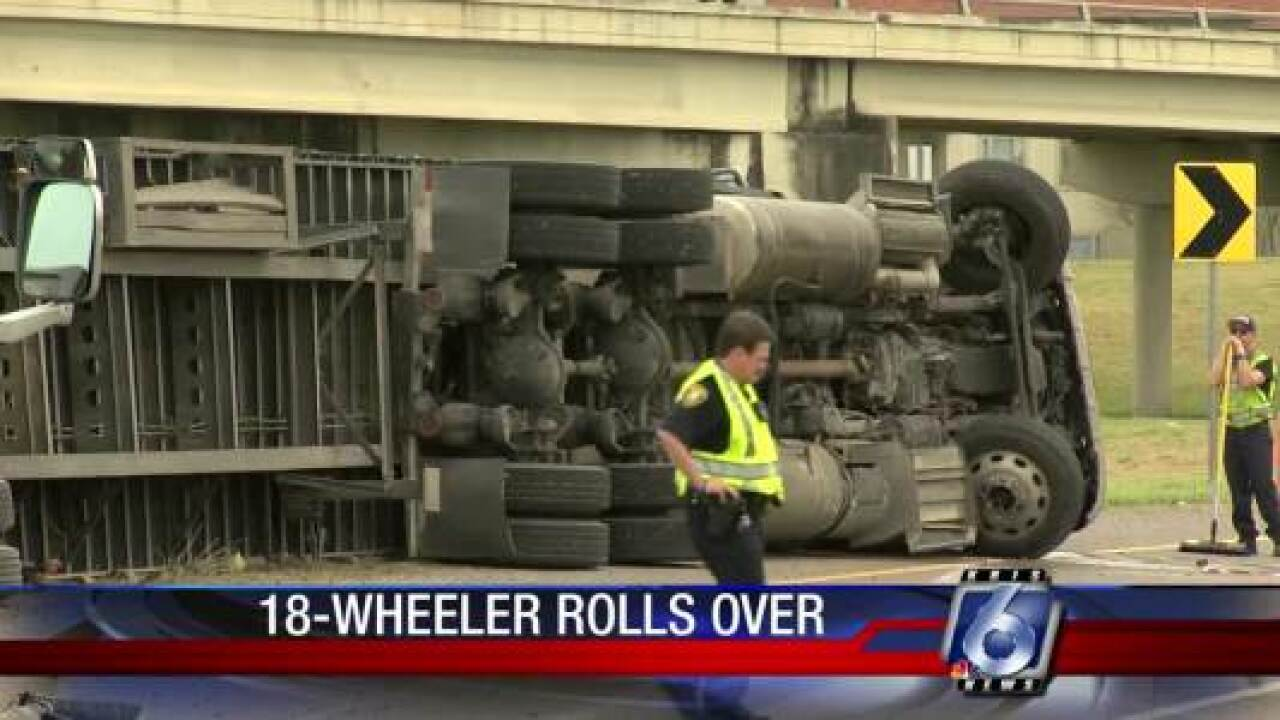18-wheeler rollover at I-37 and NPID
