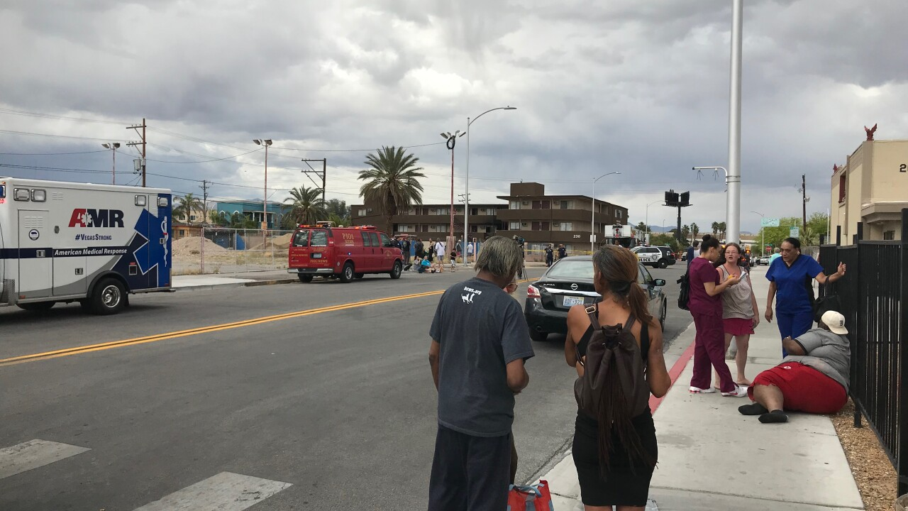 Las Vegas Fire and Rescue battled a second-alarm fire near Stewart and 11th Street in downtown Las Vegas Tuesday