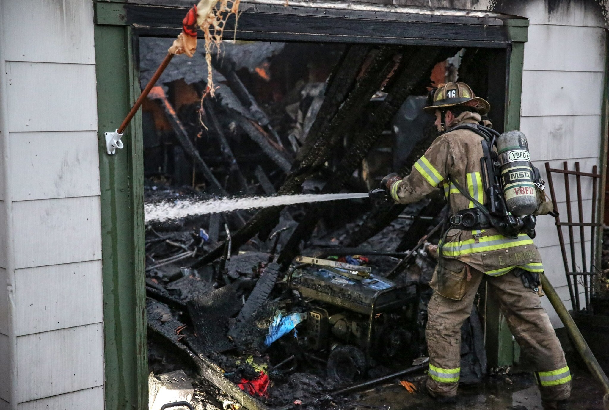 Photos: Firefighters respond to early morning garage fire in Virginia Beach
