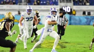 BYU QB Zach Wilson runs from UCF Knights in 2020 Boca Raton Bowl