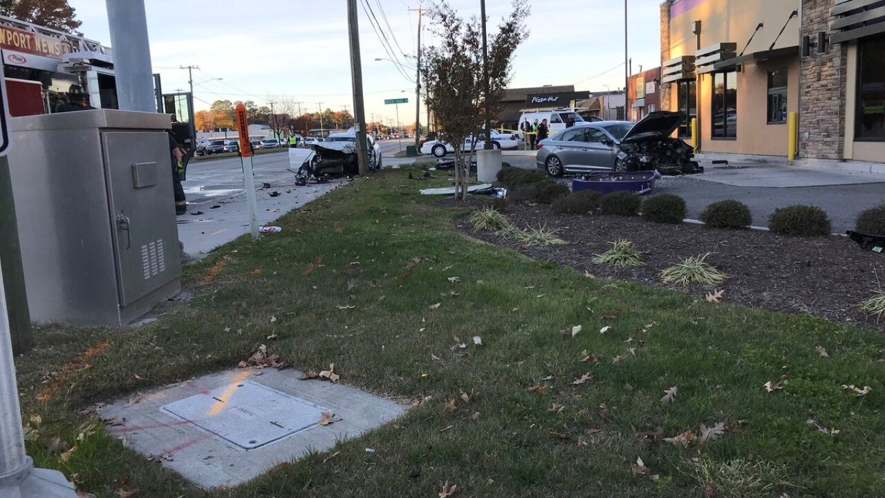 Two hospitalized after crash on Jefferson Avenue in Newport News