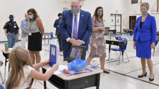 Hogan visits Caroline Co. students on their first day back to school
