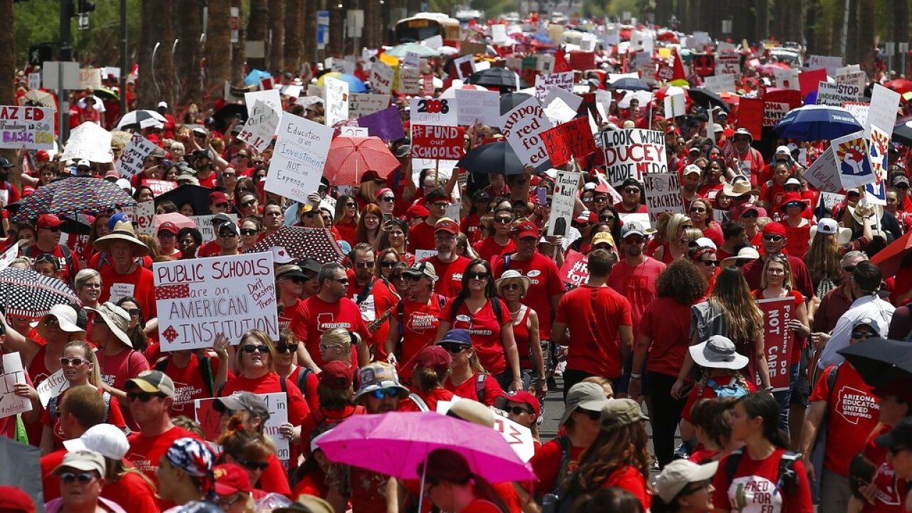 Teacher Protests Red for Ed