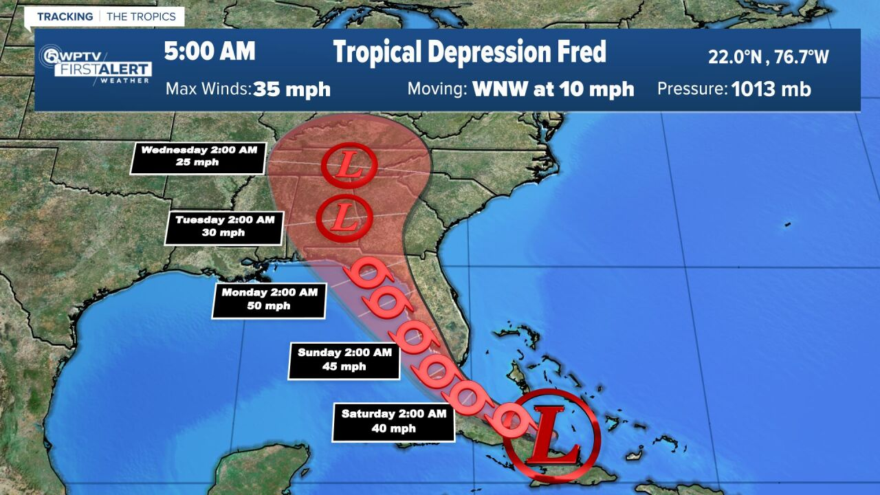 Tropical Depression Fred 5 a.m. Aug. 13, 2021