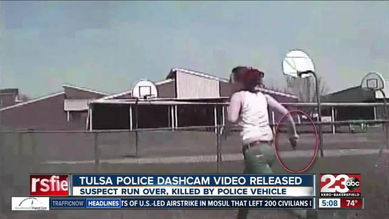 New dash cam video shows Tulsa police running over woman
