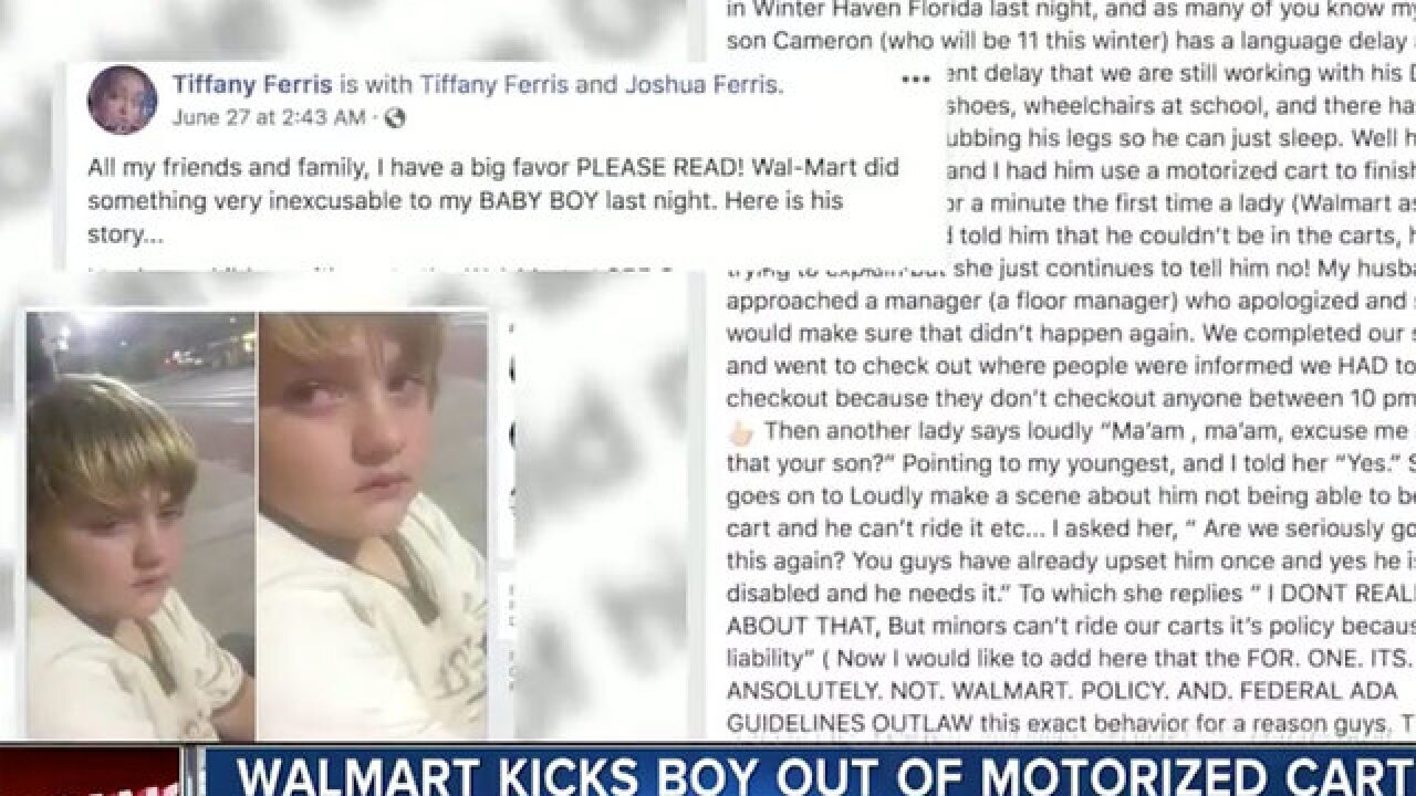 Florida family claims Walmart kicked young boy with muscular condition out of motorized cart