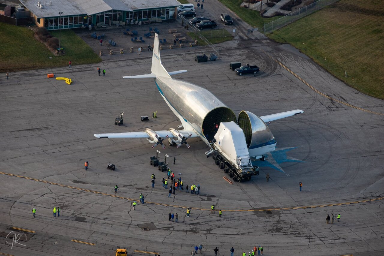 The Orion coming out of the Super Guppy on Monday.