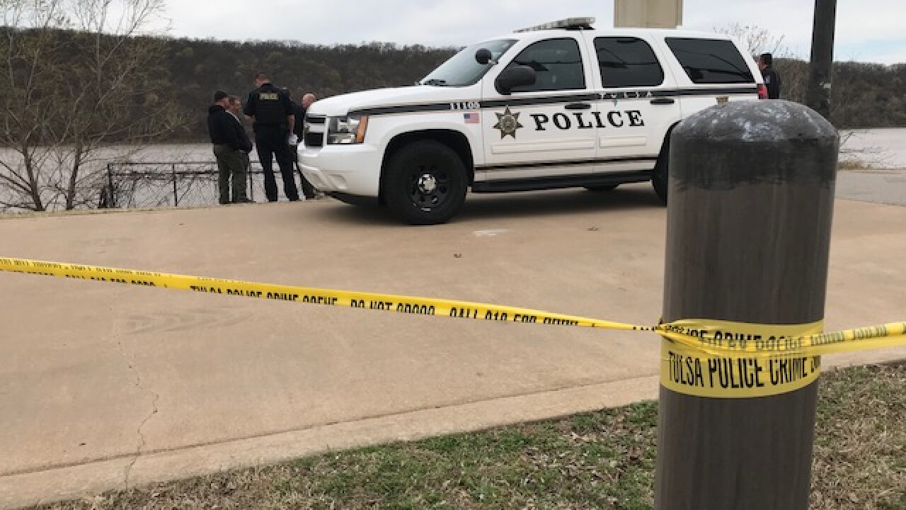 Tulsa Police Department on-scene after discovering a woman's body in the Arkansas River.