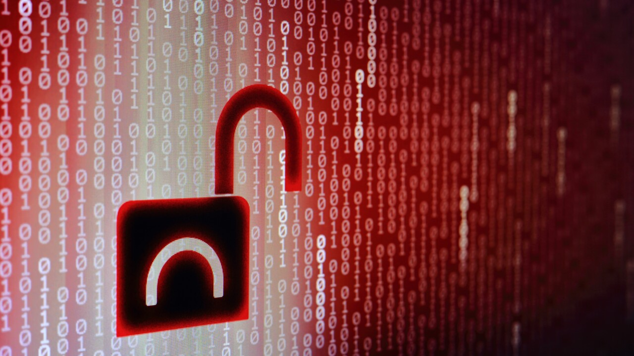 data breach concept. internet compute privacy compromised. unsecured network and data transfer. hacker hacked in to the system. cyber crime. Red binary code background with open black padlock icon.