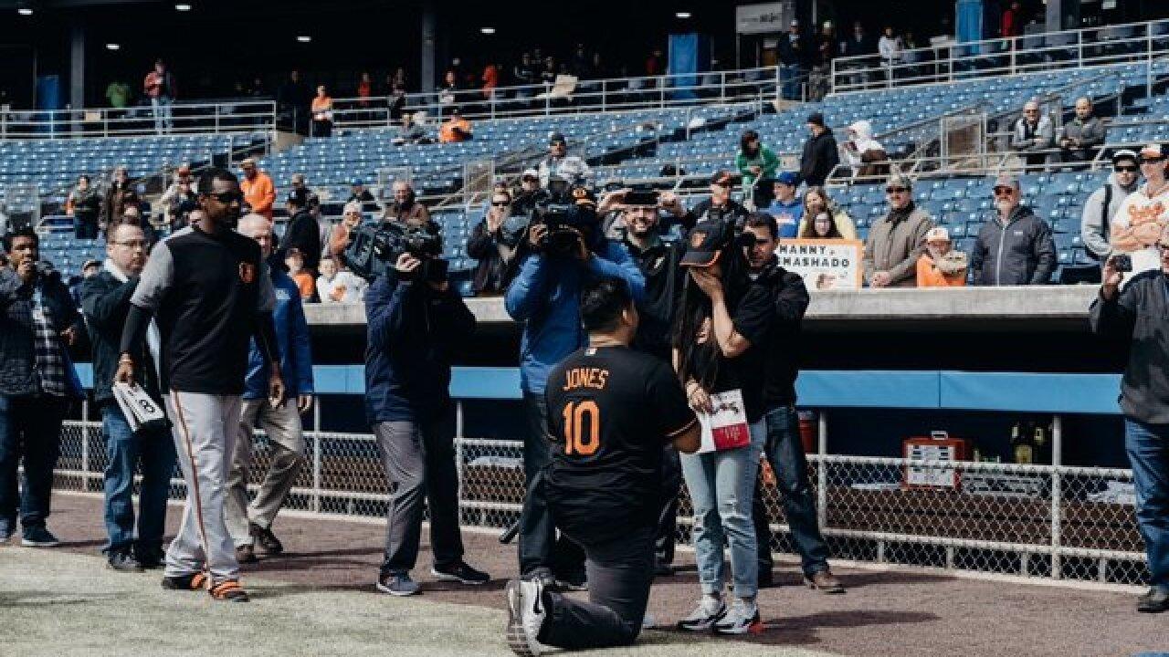 Adam Jones helps Orioles fan with proposal