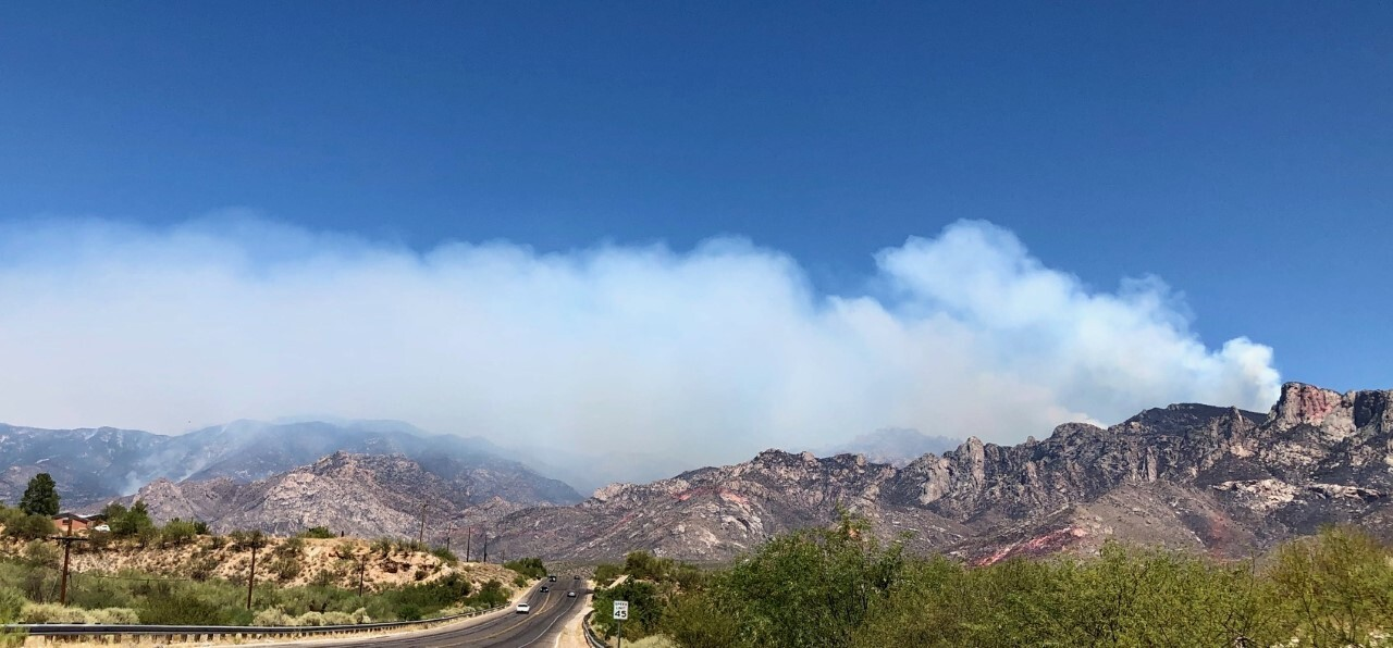 Smoke from the Bighorn Fire over the Catalina Mountains as seen from Naranja Rd. in Oro Valley