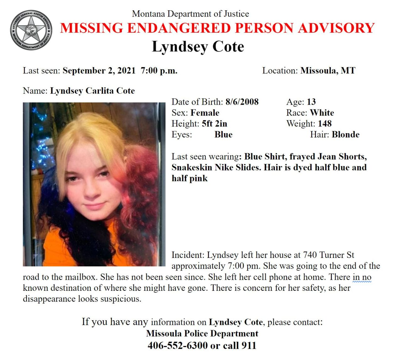 Missing/Endangered Person Advisory for 13-year old Lyndsey Cote of Missoula