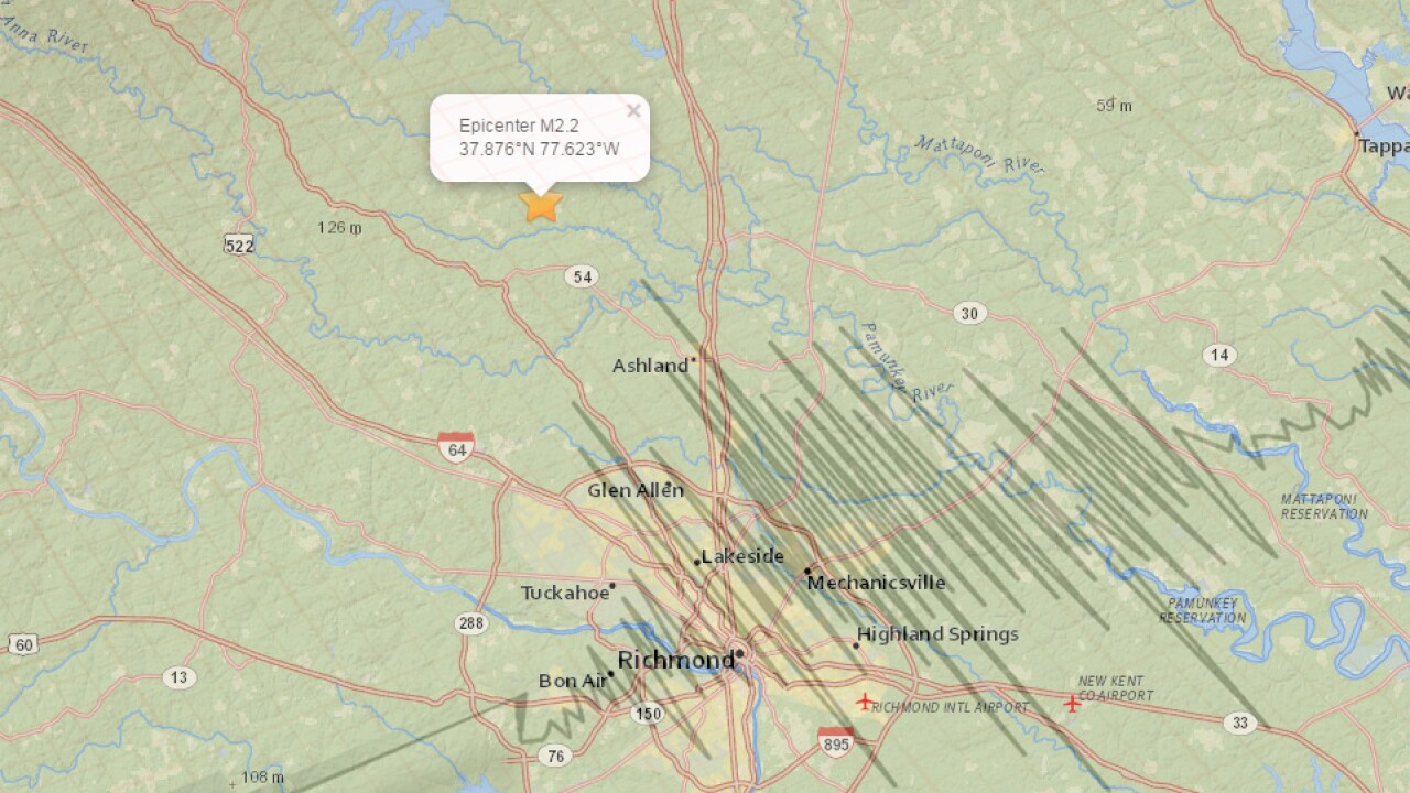 Earthquake rumbles central Virginia early Thursday
