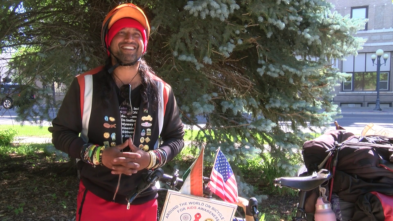 Somen Debnath visited Great Falls on his around-the-world cycling journey