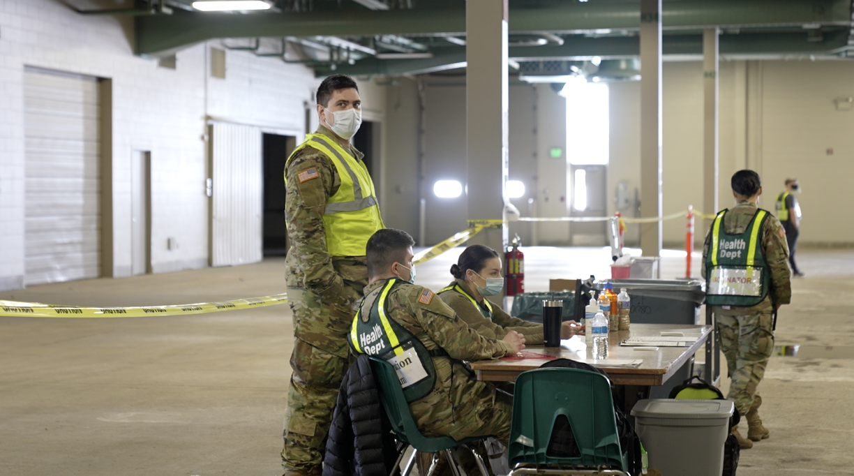 National Guard volunteers at the Ingham County Health Dept. vaccination site