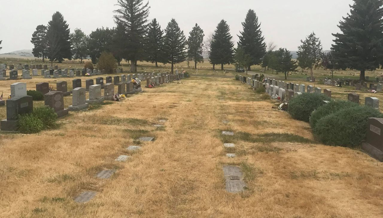 """Highland Cemetery during """"dry"""" period"""