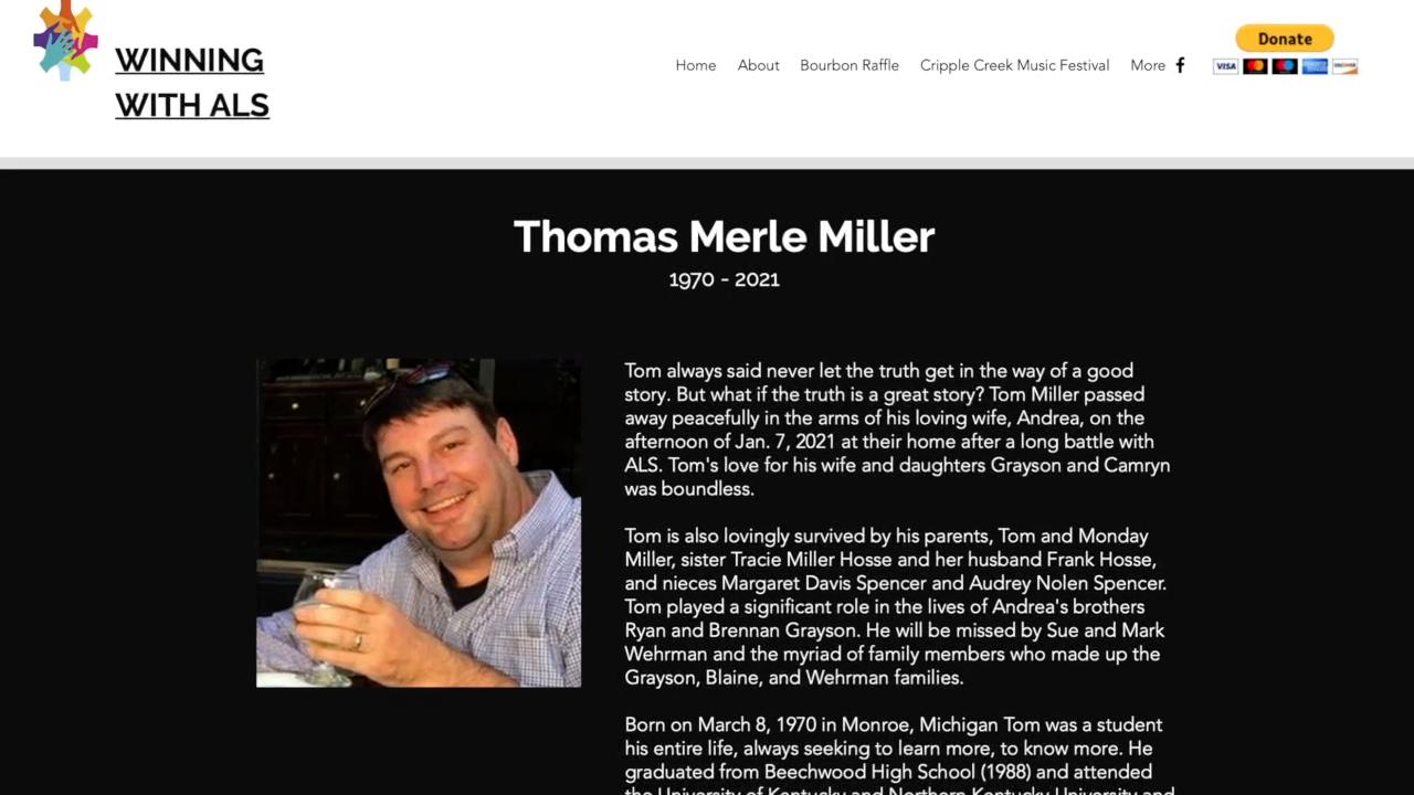 Winning With ALS website showing Tom Miller
