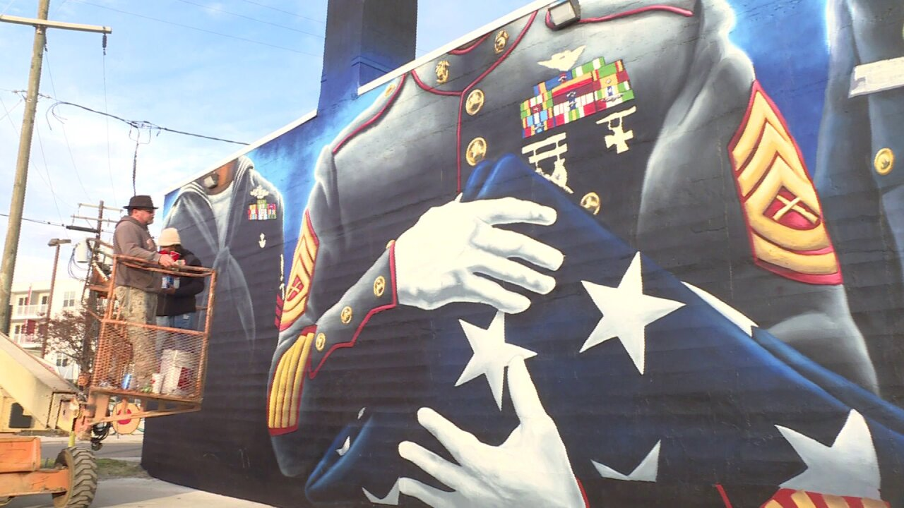 'They deserve this' Finishing touches put on military tribute mural in Downtown Norfolk