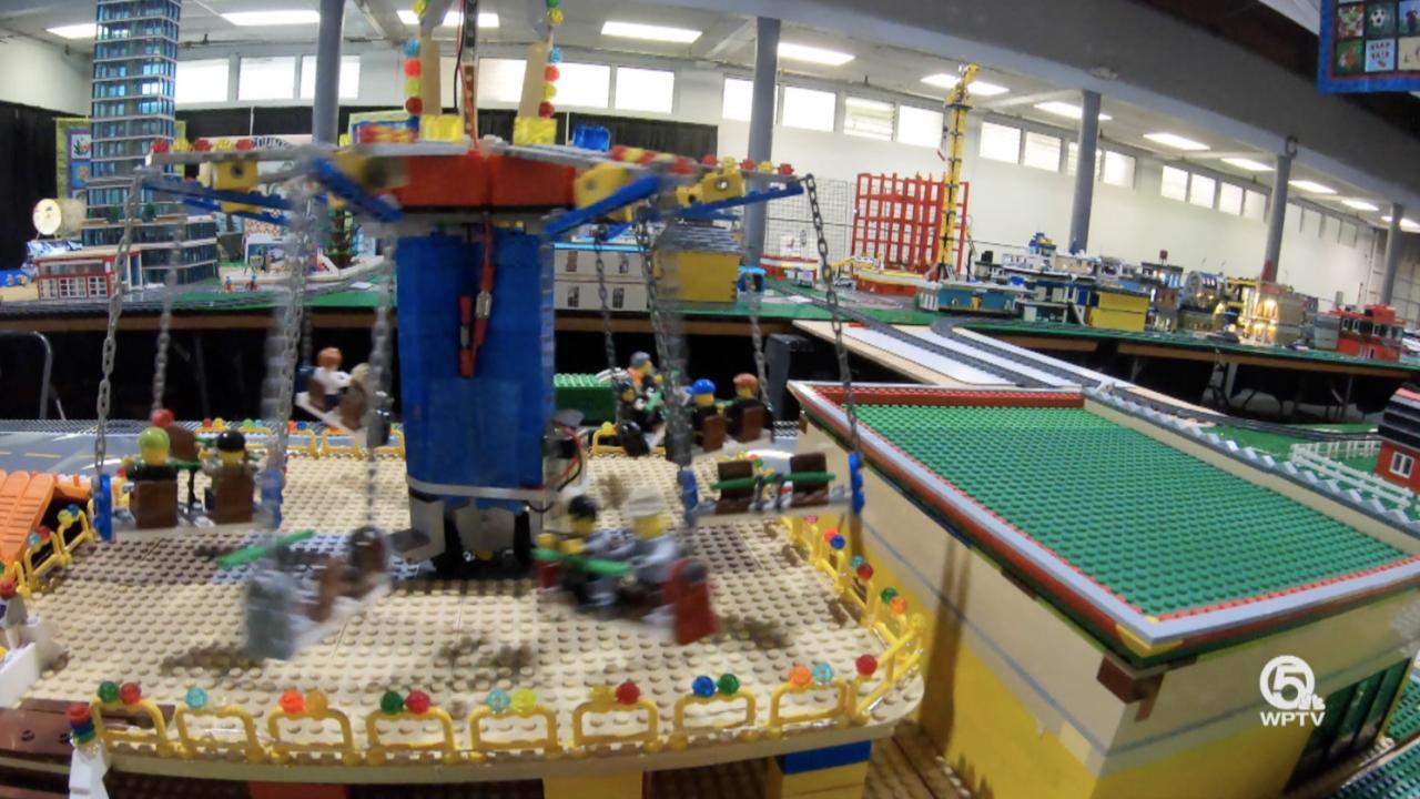 Trains and a monorail burrow their way through Matthew Pearlman's 40-foot Lego display at this year's South Florida Fair.