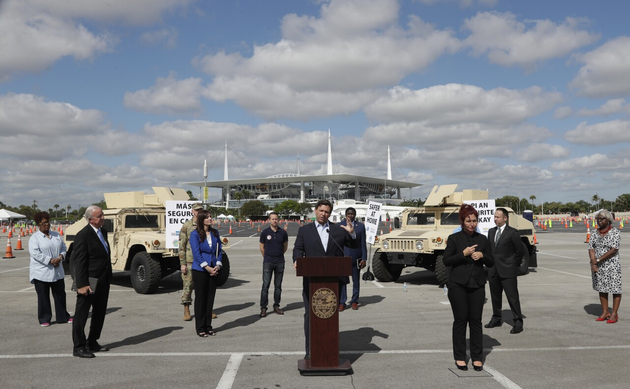 Gov. Ron DeSantis holds coroanvirus news conference outside Hard Rock Stadium