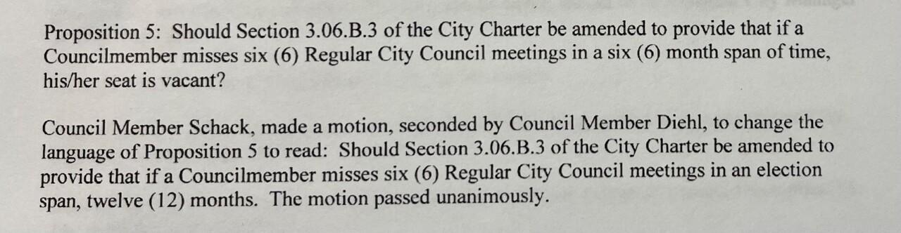 Charter amendment