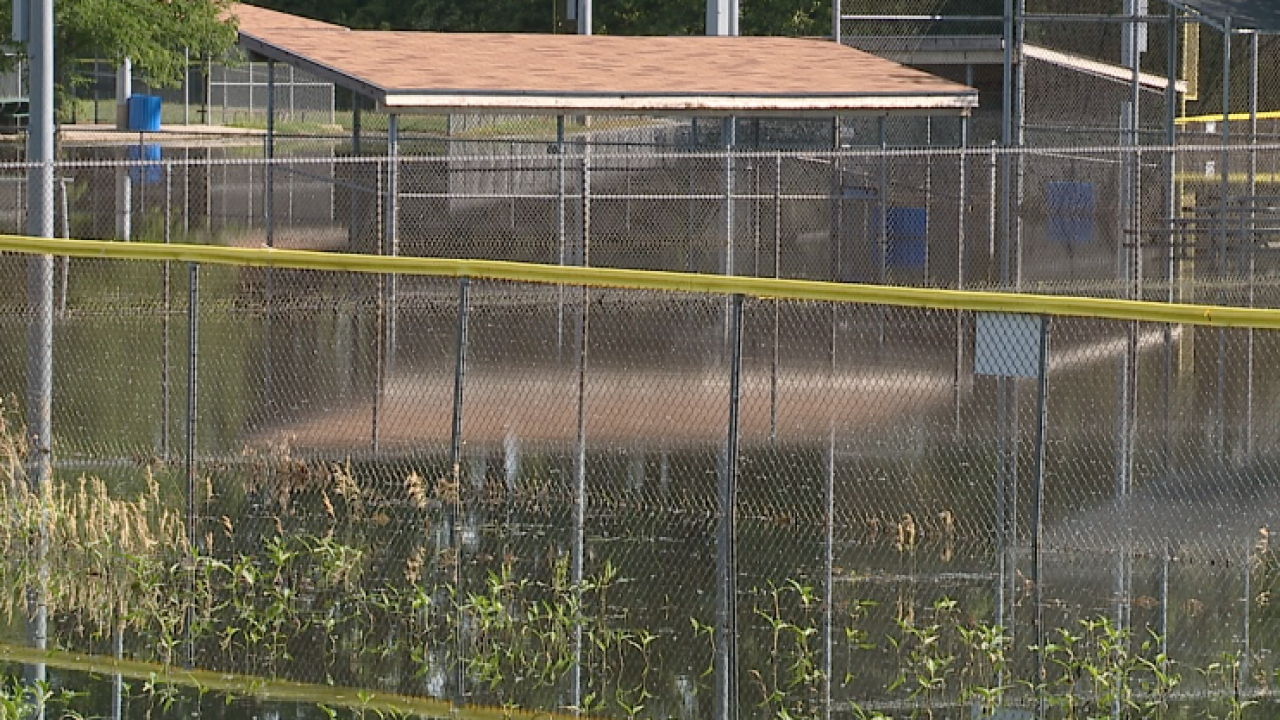 flooded baseball field