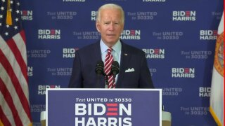 Joe Biden holds a roundtable discussion with veterans in Tampa, Fla., on Sept. 15, 2020.