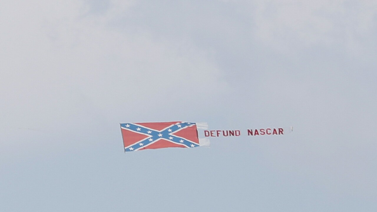 Plane dragging Confederate flag banner flies above NASCAR All-Star race